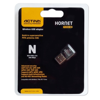 Actina Wireless USB Adapter Hornet P6132-30, Wi-Fi 802.11n, 300 Mbps, Blister
