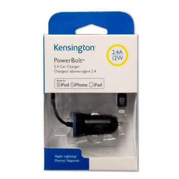 Kensington Car Charger PowerBolt K38028WW, for iPhone 5/6/7/iPad Air, 2.4A, 12W, black, Blister