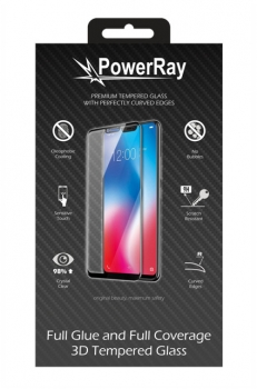"PowerRay Ultra Durable 3D Full Glue Glass, PR-3DFGIPH12, iPhone 12 Pro Max (6.7""), Black, Blister"