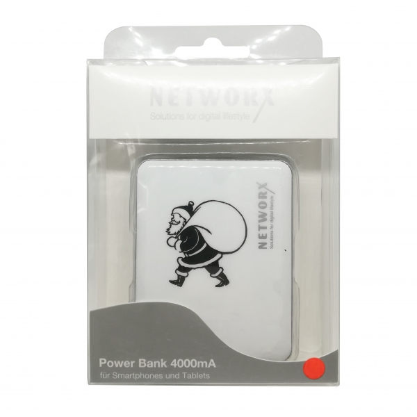 Networx Power Bank 4000 mAh, 2x USB, silver/white, Blister