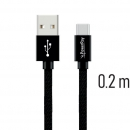 PowerRay Data Cable PR-DCUC020TBK, USB / USB-C, 0.2 m, Textile black, Blister